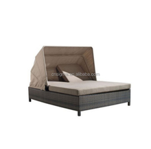 2017 modern outdoor furniture rattan double sun lounger beds daybeds