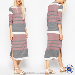 column dress in knitted colored stripe/slim long dress/casual dress for women