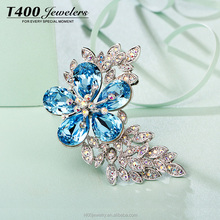T400 jewelry Snowflake shaped crystal fashion brooch make with swarovski element