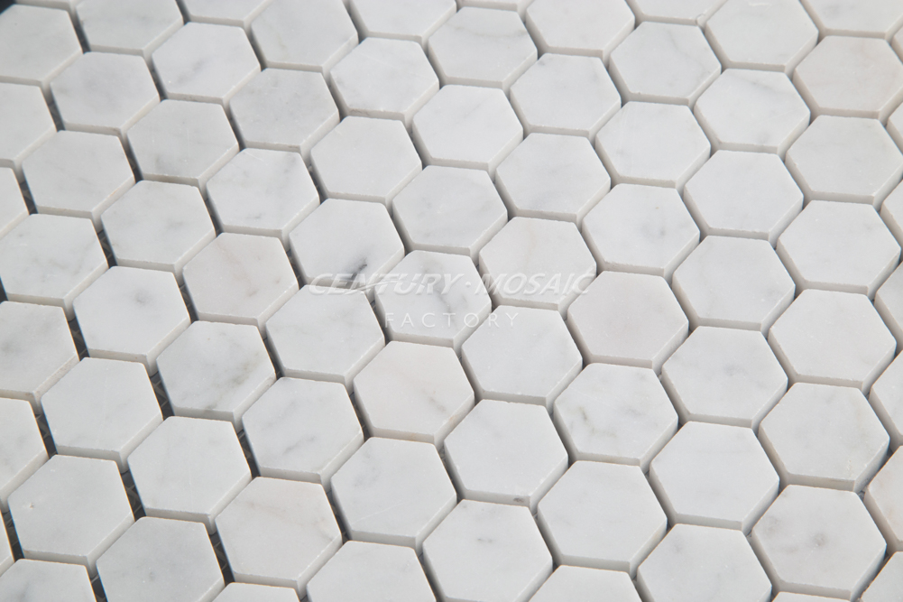 Century Mosaic Polished Carrara White Marble Mosaic Tile