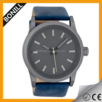 Preppy style watch,metal case/leather strap/mineral glass/3ATM waterproof