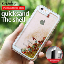 Glitter Star Liquid Clear Cell Phone Case For Iphone 7 Case For Iphone 7 Quicksand Phone