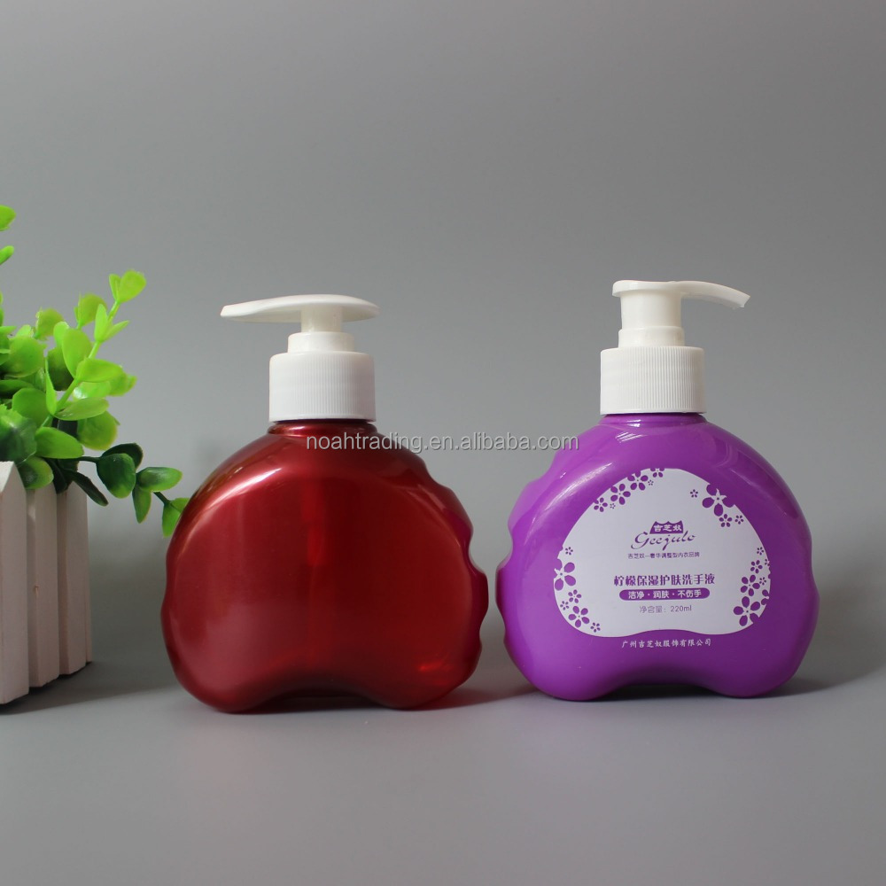 250ml red purple beautiful creative heart shape pet plastic bottle, cosmetic bottle 250ml