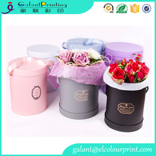custom wholesale cardboard material cheap round flower hat box with ribbon