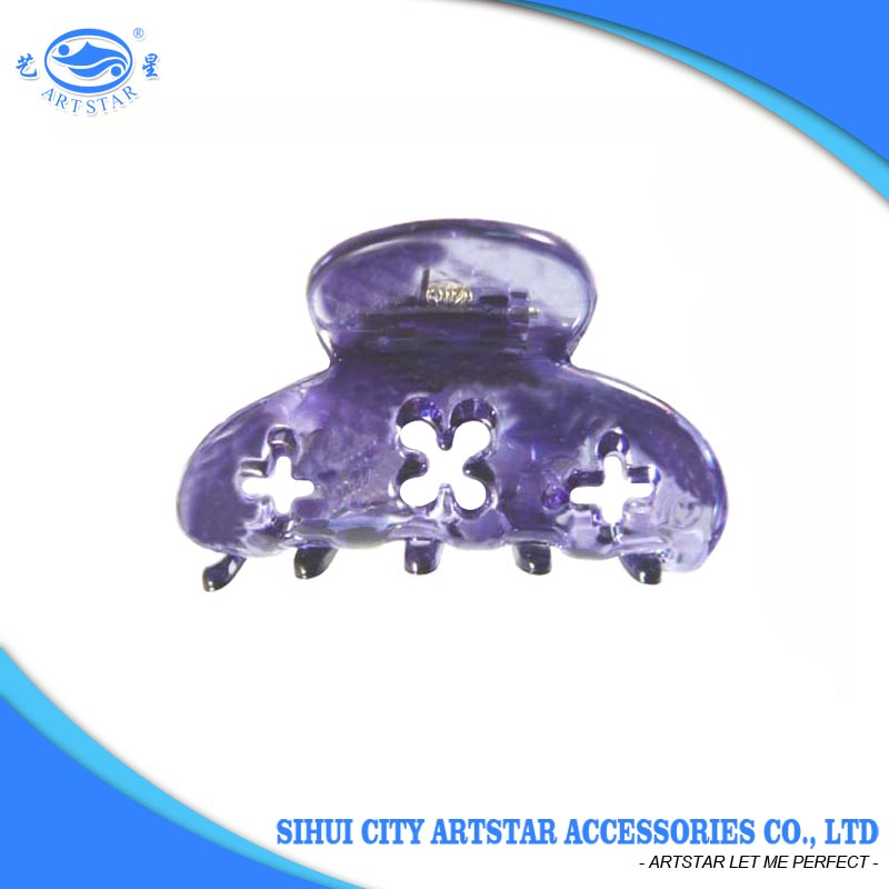 Custom korean style PC 52 mm purple plastic claw clip for hair extensions