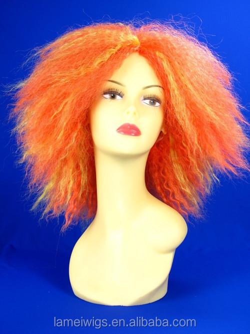 N6191 orange color synthetic short curly hair wigs beauty wig supply