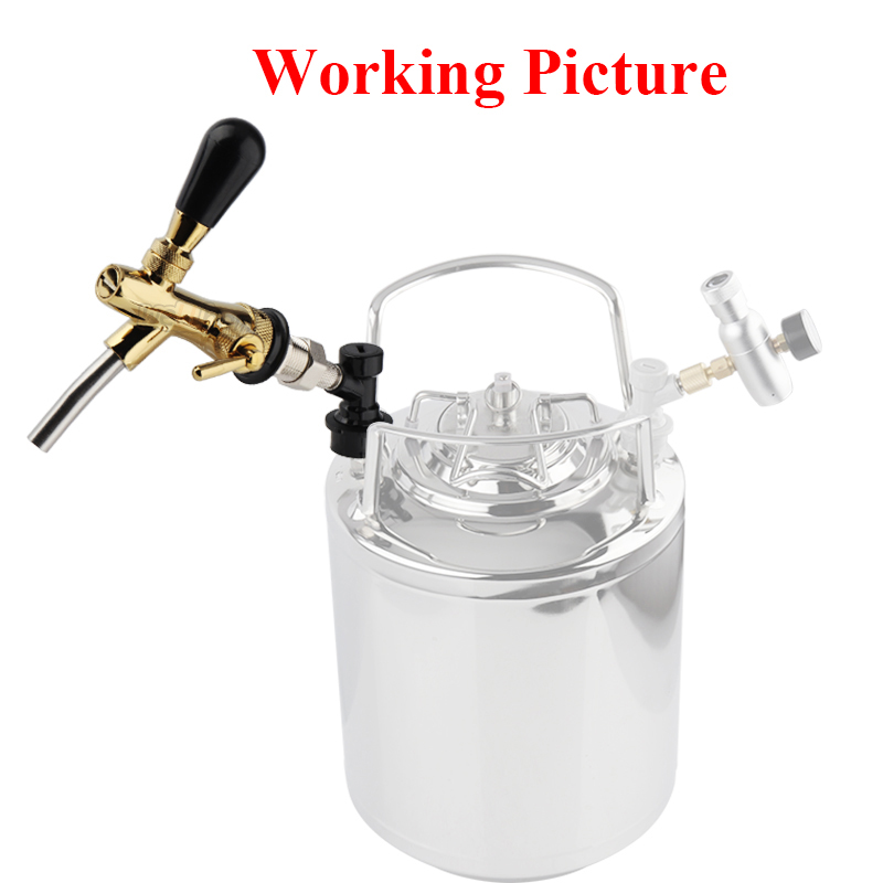 Draft Beer Faucet,Golden Adjustable Beer Tap Faucet with Flow Controller Chrome Plating Shank with Ball Lock Tap Kit