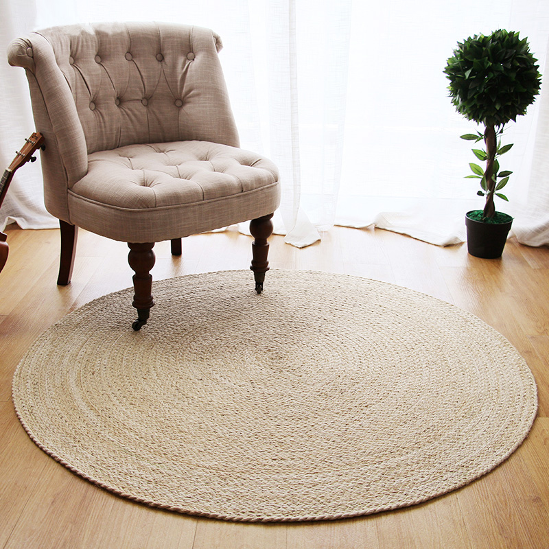 Top Quality Geometry Design Cotton or Jute Living Room Carpet Hand Woven Wool Rug