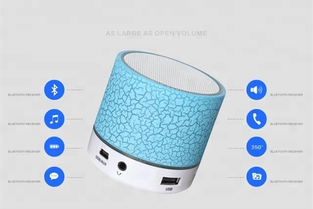 mini speaker for iphone A9 Smart Colorful LED Light Mini Wireless Speaker, Portable Stereo Speaker With USB/TF/FM/AUX