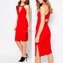 Factory Price New Arrival Hot Sale Sexe Red Real Pictures Of Halter Cocktail Party Dress