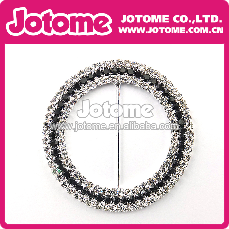 50mm Black Clear Double-breasted Round-shaped Rhinestone Buckle Slider for Invitation Wedding Letter and Bracelets Necklace