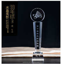 New Design Crystal Glass Badminton Trophy Award For Sport Competition