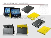 leather pu case for i pad3 ,high quality pu leather folded stand function with pen holder