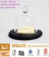 slate holder cake/cheese plate with cover slate with glass dome