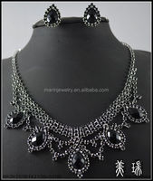 New Fashion Bridal Bridesmaid Wedding Black Crystal Necklace and Earring Jewelry Sets