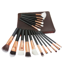 Wholesale 18 Pcs professional makeup brush set rose gold make up brushes with PU zipper