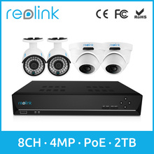 Reolink Set 8ch PoE NVR w 2 Bullet Camera and 2 Dome IP Cams RLK8-410B2D2
