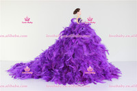 Lovebaby 2016 New arrival high quality and cheap price barbie doll for baby with beautiful feather dress LBT20160408-20