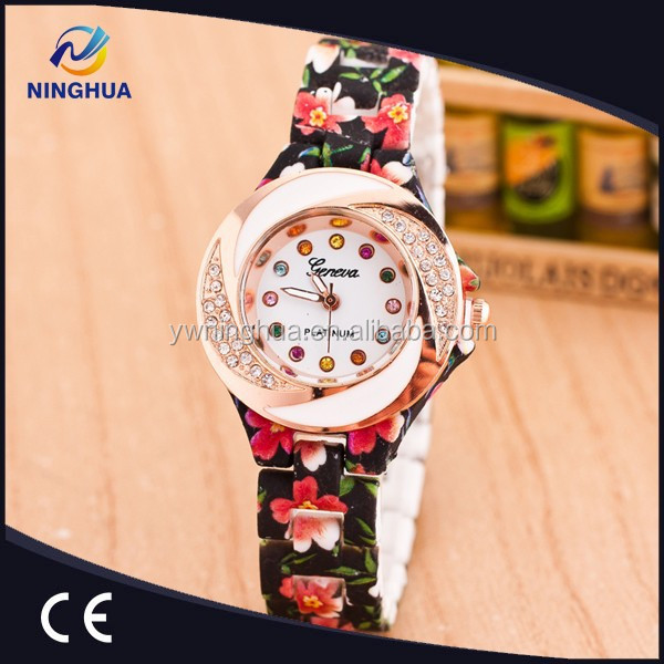 New Arrival Top Sales 15 Colors Flower Watch Crystal Dials Plastic Band Ladies Wristwatch