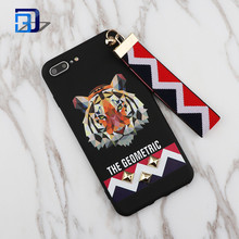 New Arrival 3D Europe Animal Tiger & Rabbit Stud Rivet Wrist Strap Phone Case Soft TPU Cover Case for iphone 7