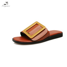 2017 Women Pure Solid Color Leather PU Big Size Buckle Cushioned Footbed Rubber Beach Slides Slipper Sandals