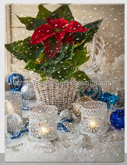 christmas lighted canvas pictures,Christmas flower Led canvas pictures fiber optic wall art