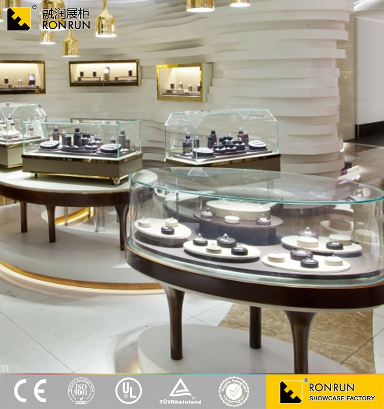 Fine Craftsmanship Glass Jewelry Display Showcase Jewellery Showroom Furniture Designs