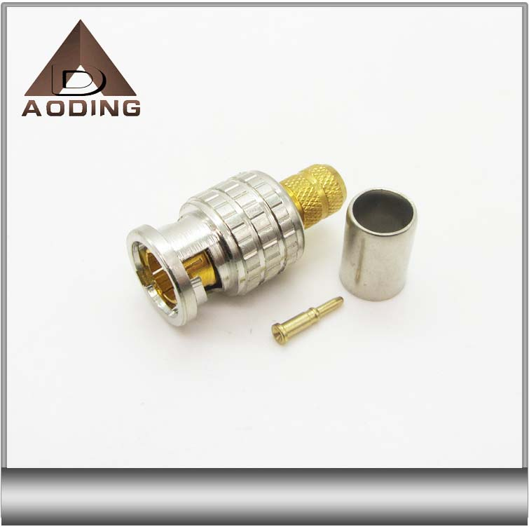 New design bnc male 75ohm crimp connector for RG58,RG59,RG6 cable