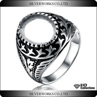 Antique silver jewelry ring base DIY 925 sterling blank ring with unique design sun silver ring for fashionable gift