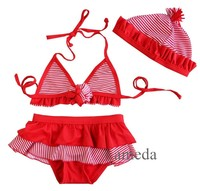 Girls Red White Stripes Tutu Bikini Swimsuit with Hat