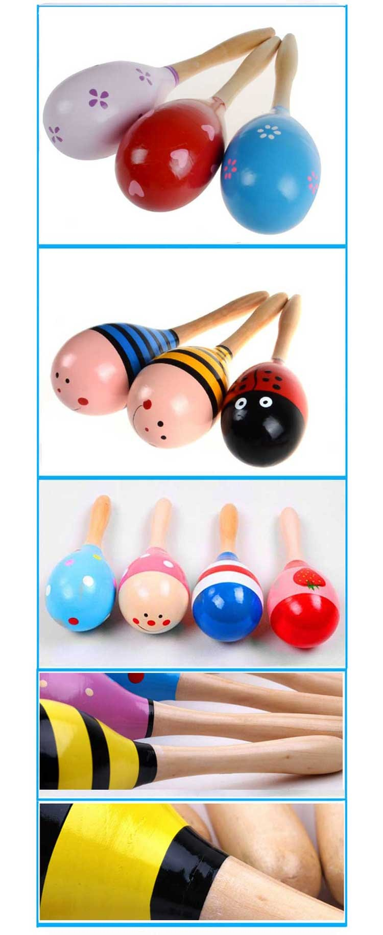 Colorful Party Maracas Wholesale Musical Toy Funny Wooden Toys