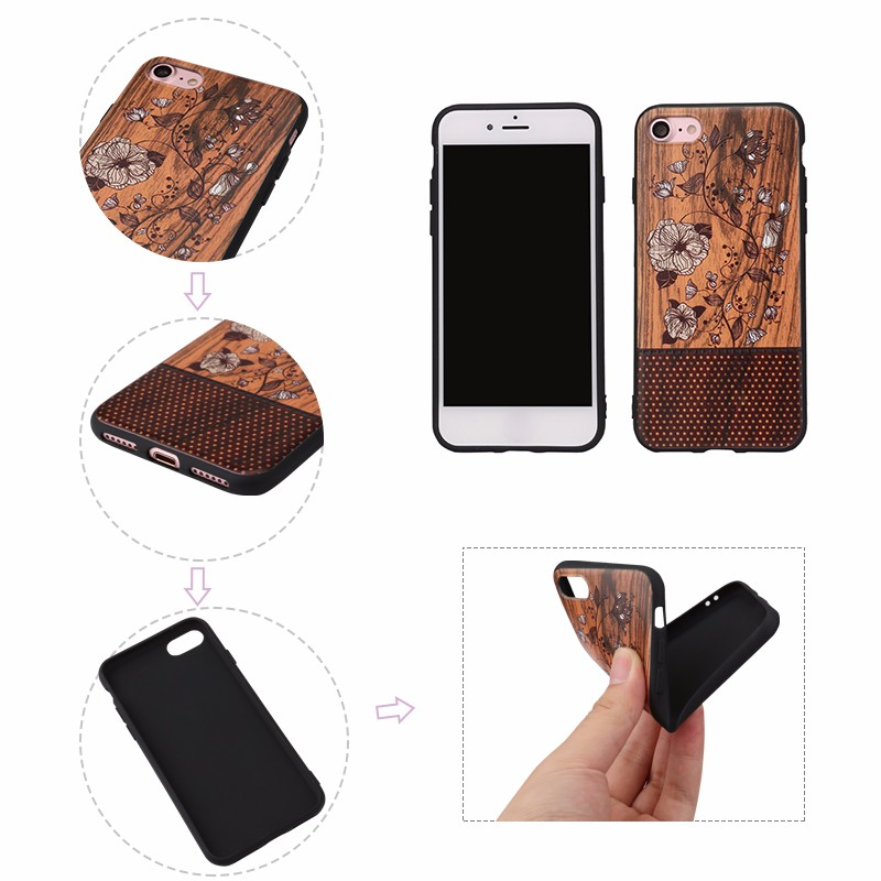 [Somostel] mobile accessories phone case soft tpu pc wooden phone case for iphone 7 case bamboo