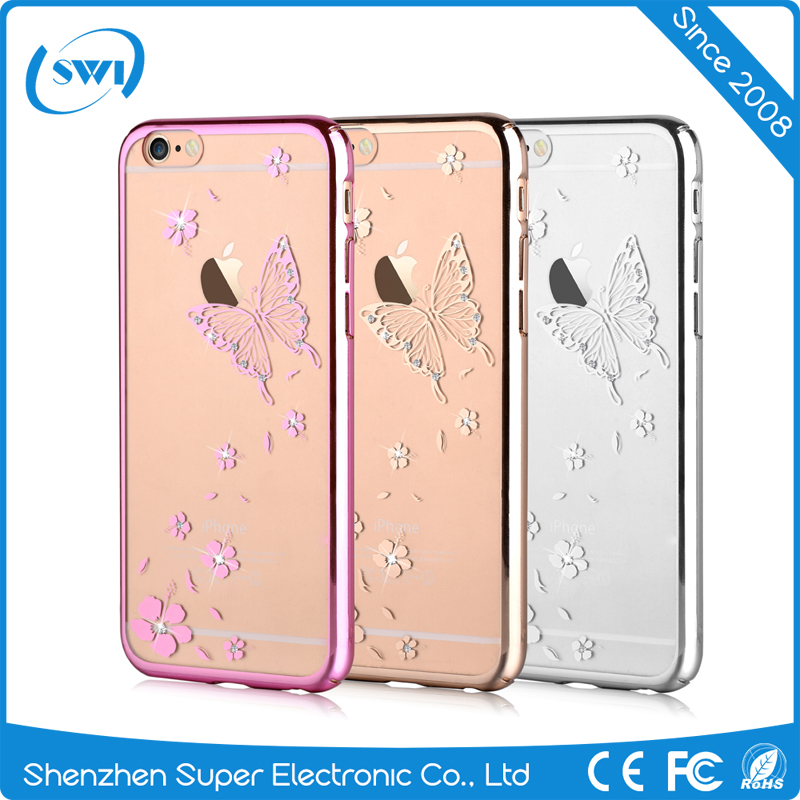 Electroplating Laser Cutting LOGO Shining Crystal Hard PC Case Cover For Iphone 6 6S 6 Plus 6S Plus