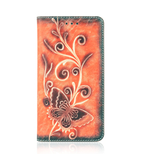Beautiful flower picture leather smartphone case with microfiber lining material,vintage wallet cellphone case