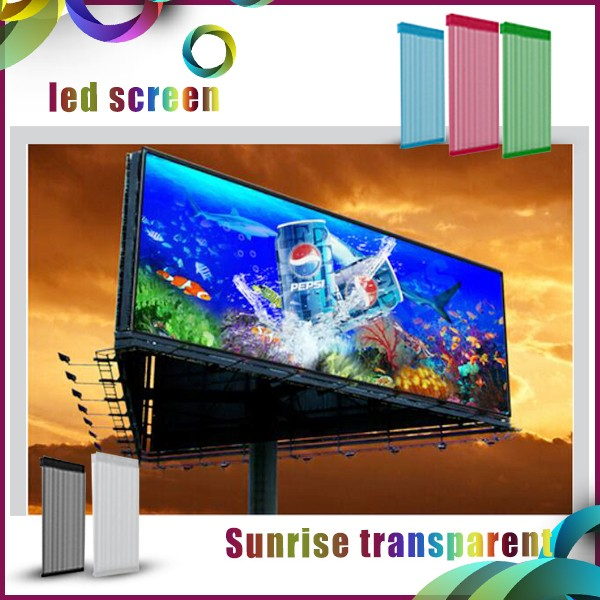 P31.25 /P15.625mm transparent flexible Mesh led screen easy installation for the glass mall wall led video
