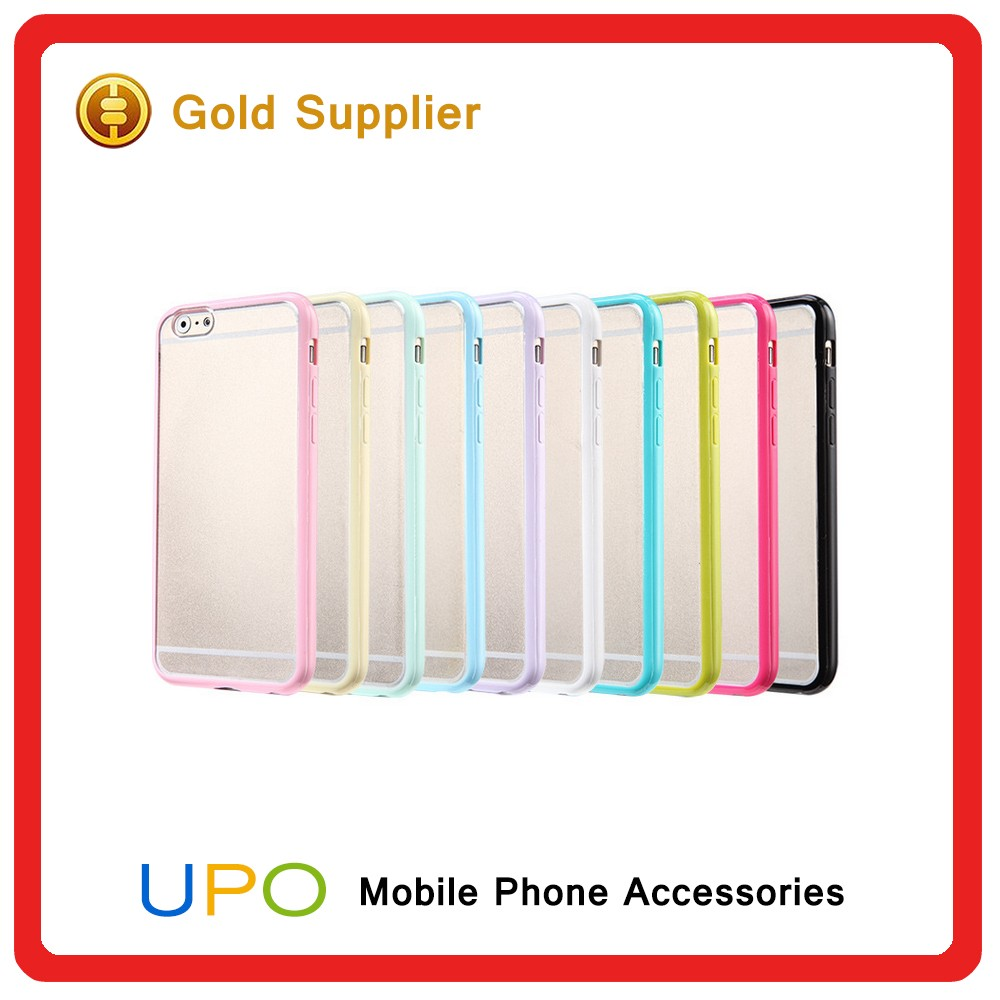 Flexible Soft gel tpu bumper and slim transparent hard PC plastic back clear case cover for iPhone 6 6s