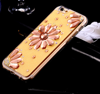 HOT Glitter TPU Gemstones Jewelry Flower Mobile Phone Case Cover For iPhone6s Plus