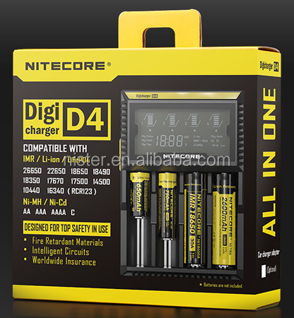 Hot sale original nitecore d4 liion rechargeable battery charger/Nitecore D4 Charger LCD Display Battery Charger