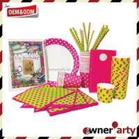 Fashionable Design And Good Quality Ownerparty Wholesale Birthday Party Supply Paper Party Set With Dot