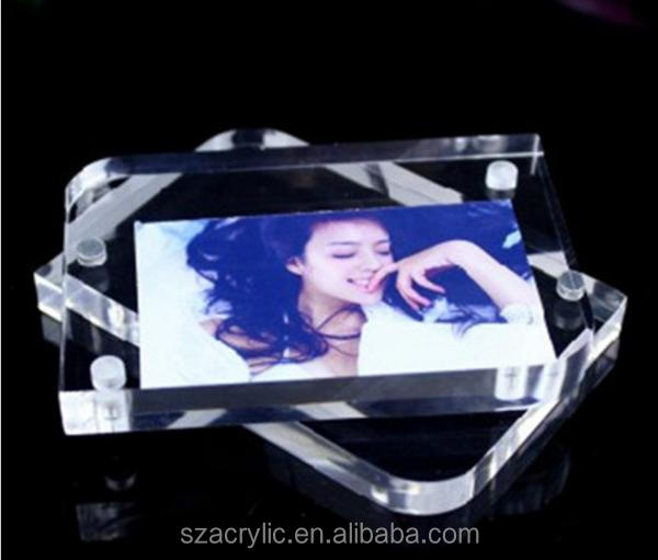 Acrylic crystal magnetic photo picture frame with round corners