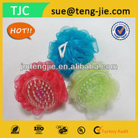 NEW ARRIVAL Shower Puff Ball with Plastic Massage Brush
