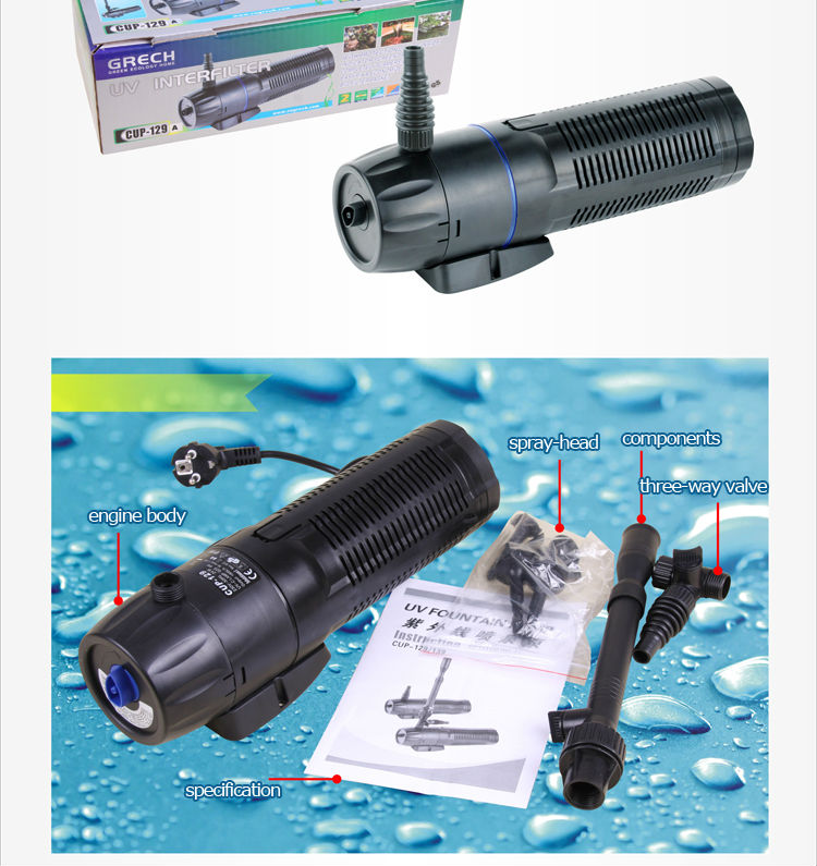 Submersible pond filter pump pond bio filter with uv light for Used pond filters and pumps