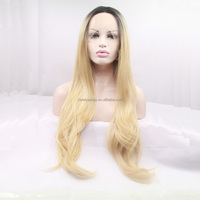 high quality blonde natural straight wigs with dark roots synthetic lace front wig heat resistant fiber