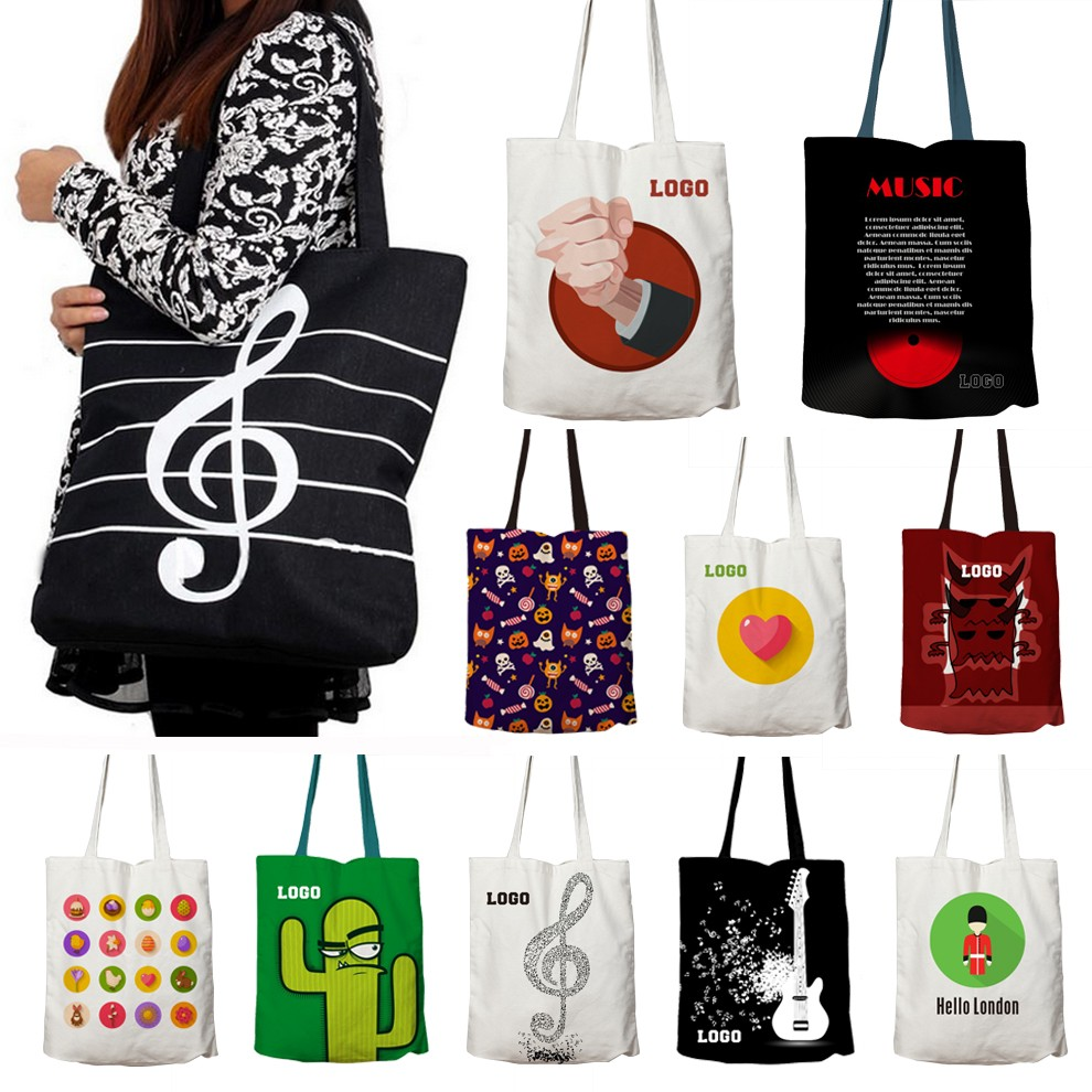 Long Handle Custom Canvas Bag, Tote Cotton Bag, Cotton Bag With Logo