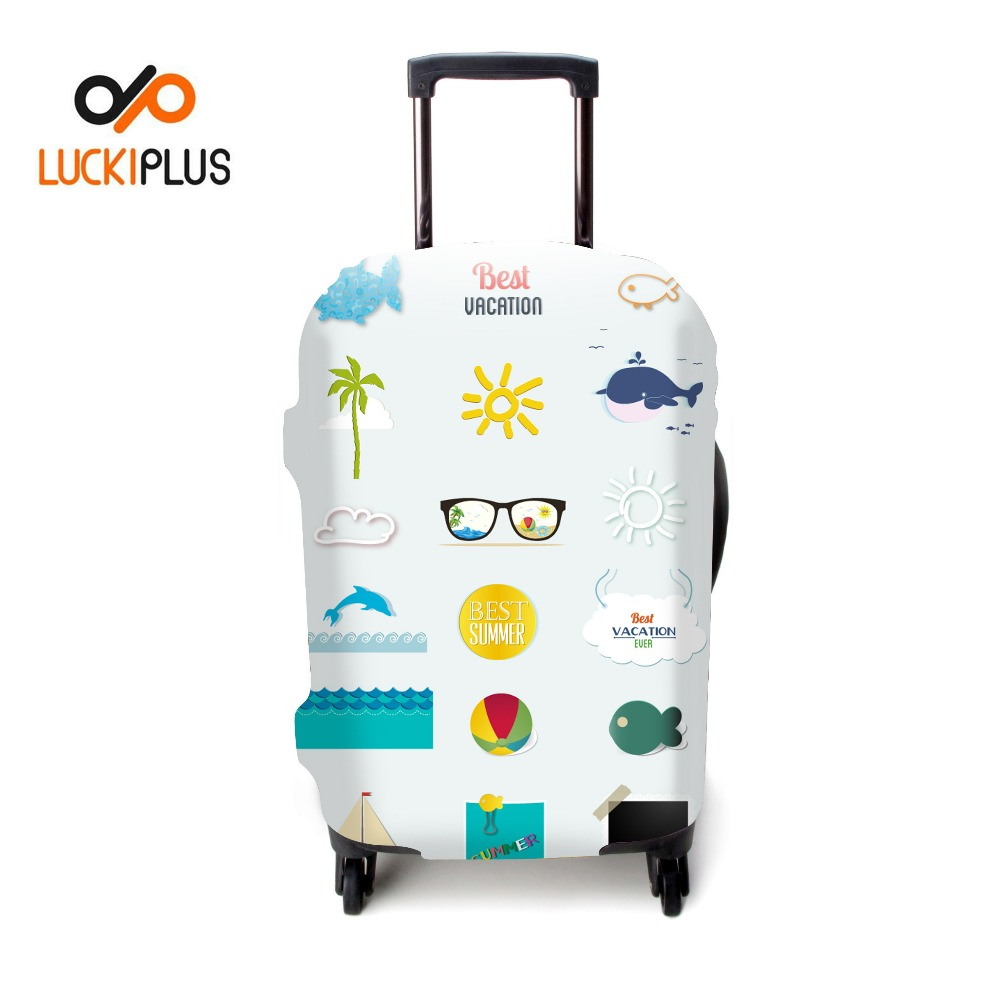 Luckiplus Customized Pattern Trolley Case Cover Resilient Luggage Cover