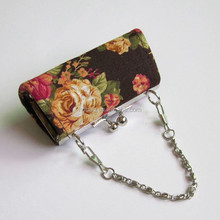 fashion custom flower printing handbag mini lipstick silk brocade metal frame coin purse with handle