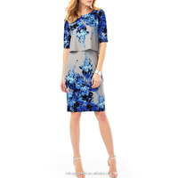 MIKA3046 2016 Women Round Neck Floral Print Double Layer Jersey Dress
