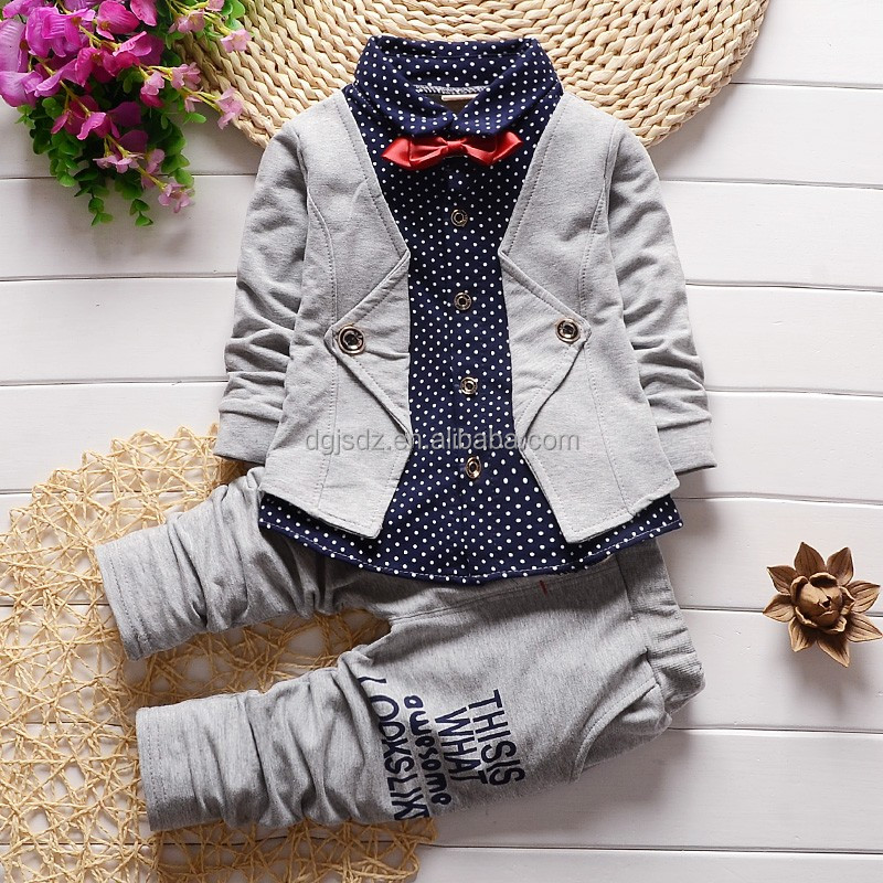 New Chidren Kids Boys Clothing Set fake 2 pieces sets Coat Suits Fall Cotton Baby Boys Clothes