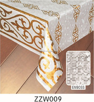 popular Semi-Gold/Silver transfer and pearl printed embossed PVC table coating with with transparent surface
