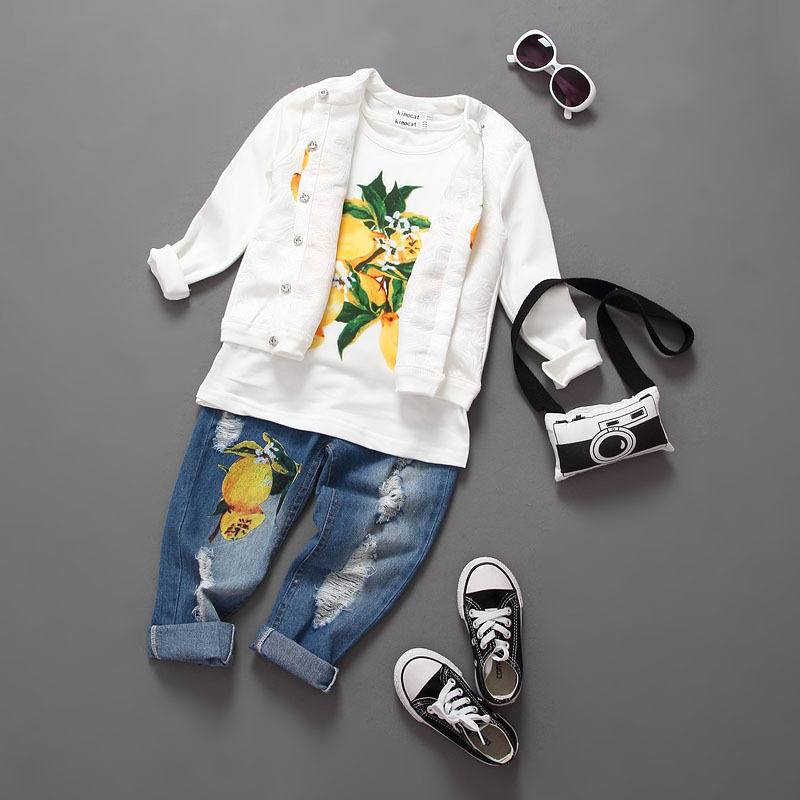 Spring and summer baby girl clothing lemon coat render short T ripped jeans suit 3 piece set